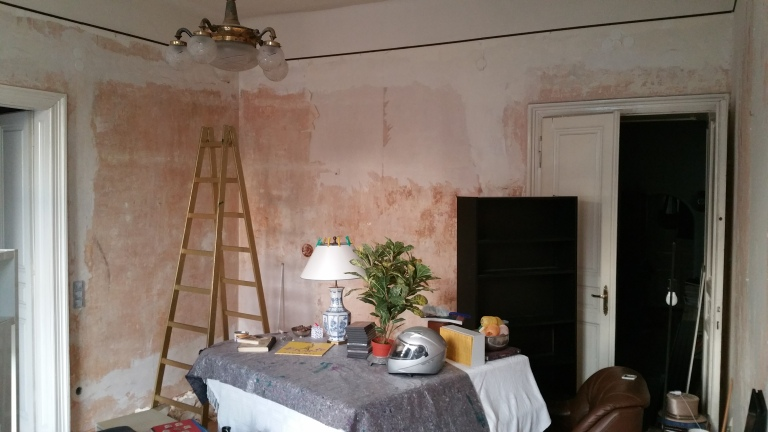 Living room doing the walls gamanacasa