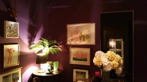 Violet walls at night